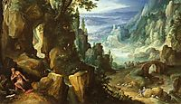 Landscape with St. Jerome and rocky crag, bril