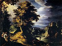 Landscape with Stag Hunt, 1595, bril