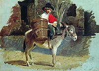A boy on a donkey, 1855, bronnikov