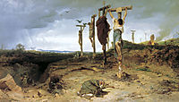 Cursed field. The place of execution in ancient Rome. Crucified slave, 1878, bronnikov
