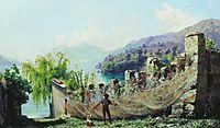 A fisherman hunging fishing nets, 1875, bronnikov