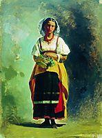 Italian woman with a basket of flowers, bronnikov