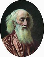 Portrait of an old man in a crimson dress, 1881, bronnikov