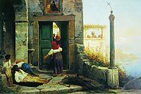 Sick man at the walls of a Catholic monastery, 1874, bronnikov