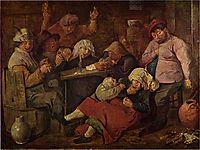Inn with drunken peasants, c.1625, brouwer