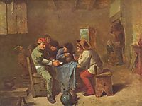 Peasants playing cards in a tavern, c.1635, brouwer