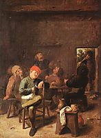 Peasants Smoking And Drinking, c.1635, brouwer