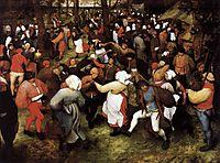 The dance of the bride outdoors, 1566, bruegel