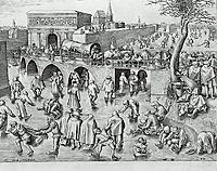 Ice Skating before the Gate of Saint George, Antwerp, 1553, bruegel
