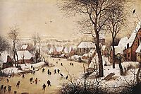 Winter Landscape with Skaters and Bird Trap, 1565, bruegel