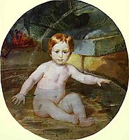 Child in a Swimming Pool (Portrait of Prince A. G. Gagarin in Childhood), 1829, bryullov