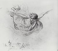 Flying Angel Mourning Victims of the Inquisition, 1850, bryullov