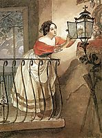Italian Woman Lightning a Lamp in front of the Image of Madonna, 1835, bryullov