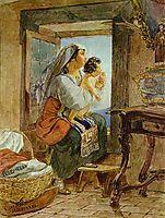 Italian Woman with a Child by a Window, 1831, bryullov