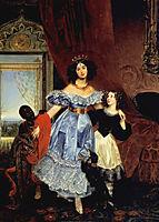 Portrait of Julia Samoylova with Giovannina Pacini and black boy, bryullov