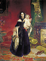 Portrait of M. A. Beck and Her Daughter M.I. Beck, 1840, bryullov