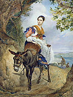 Portrait of O. P. Ferzen on a Donkeyback, 1835, bryullov