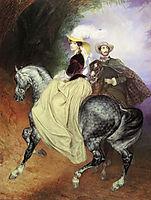 Portrait of Ye. Mussart and E. Mussart. (Riders), 1849, bryullov