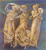 Three Female Figures  Dancing And Playing, burnejones