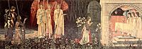 The Vision of the Holy Grail to Sir Galahad, Sir Bors, and Sir Perceval, burnejones