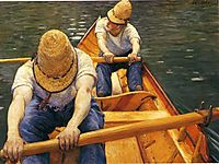 Boaters Rowing on the Yerres, c.1879, caillebotte