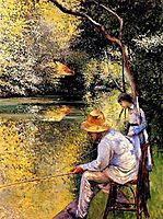 Fisherman on the banks of the Yerres, 1878, caillebotte