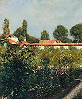 The Garden of Petit Gennevillers, the Pink Roofs, 1881, caillebotte