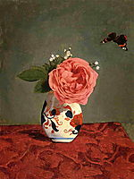 Garden Rose and Blue Forget Me Nots in a Vase, c.1878, caillebotte