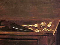 Garlic Cloves and Knife on the Corner of a Table, c.1878, caillebotte