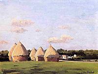 Harvest, Landscape with Five Haystacks, c.1878, caillebotte