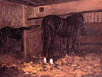 Horses in the Stable, c.1874, caillebotte