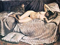 Naked Woman Lying on a Couch, 1873, caillebotte
