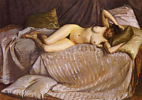 Nude woman lying on a couch, 1873, caillebotte