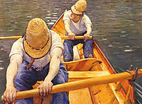 Oarsmen rowing on the Yerres, 1879, caillebotte