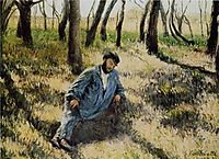 Pere Magloire lying in a wood, 1884, caillebotte
