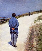 Pere Magloire on the Road to Saint-Clair, Etretat, 1884, caillebotte
