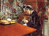 Portrait of Mademoiselle Boissiere Knitting, 1877, caillebotte
