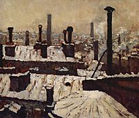 Roof under the Snow, Paris, 1878, caillebotte