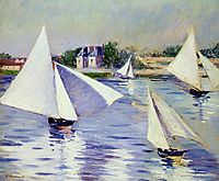 Sailboats on  the Seine at Argenteuil, 1892, caillebotte