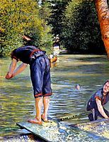 Swimmer preparing to dive, ~1878, caillebotte