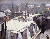 View of rooftops, Snow Effect, 1878, caillebotte