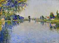 View of the Seine in the Direction of the Pont de Bezons, c.1892, caillebotte