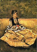 Woman Seated on the Lawn, caillebotte