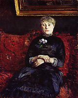 Woman Sitting on a Red Flowered Sofa, 1882, caillebotte