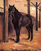 Yerres, Dark Bay Horse in the Stable, c.1878, caillebotte