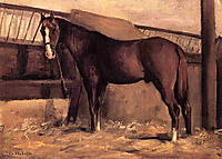 Yerres, Reddish Bay Horse in the Stable, c.1878, caillebotte