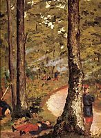Yerres, Soldiers in the Woods, c.1878, caillebotte