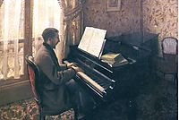 Young Man Playing the Piano, 1876, caillebotte