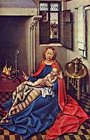 Madonna and Child Before a Fireplace, 1430, campin