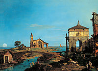 An Island in the Lagoon with a Gateway and a Church, c.1743, canaletto